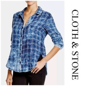 Cloth & Stone Blue and Orange Plaid Button Up